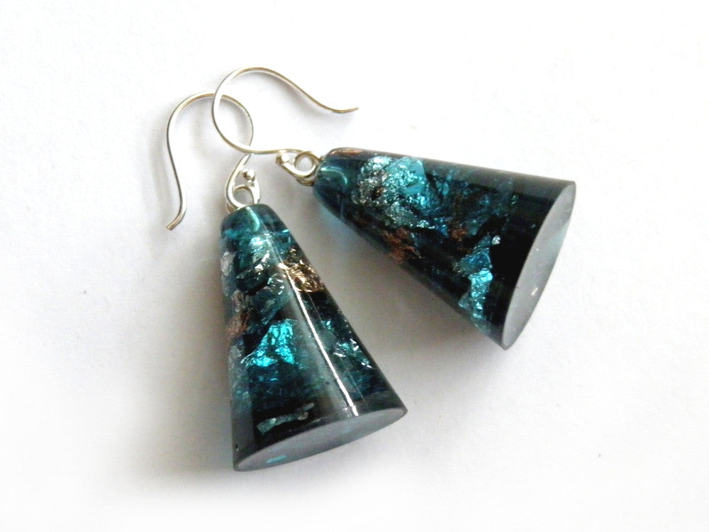 Jade + Copper Resin Cone Earrings