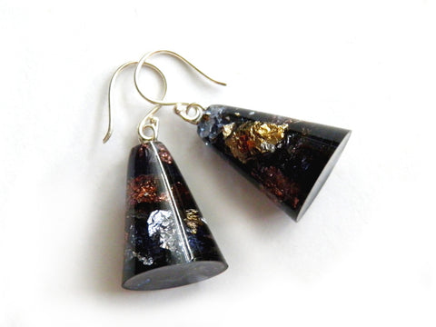 SALE SuperFancy Black Resin Cone Earrings