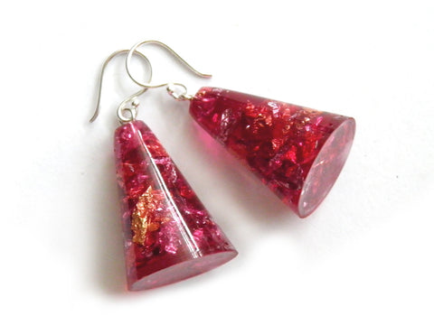 SuperFancy Pink Resin Cone Earrings