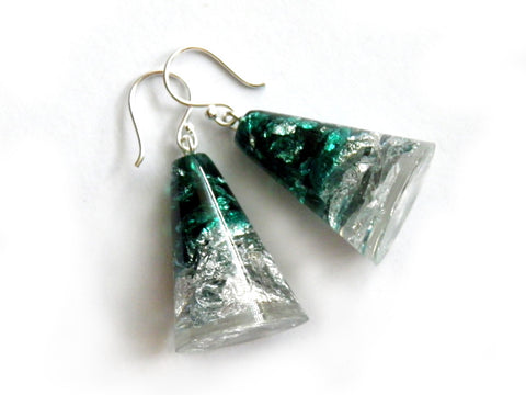 Green + Silver Resin Cone Earrings