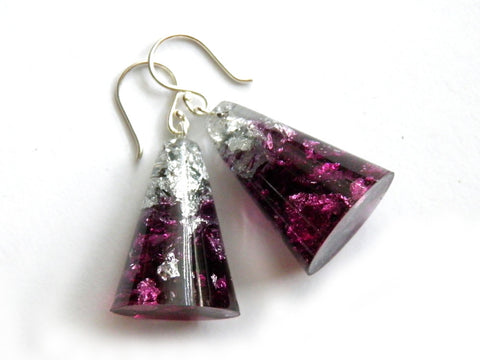 Plum + Silver Resin Cone Earrings
