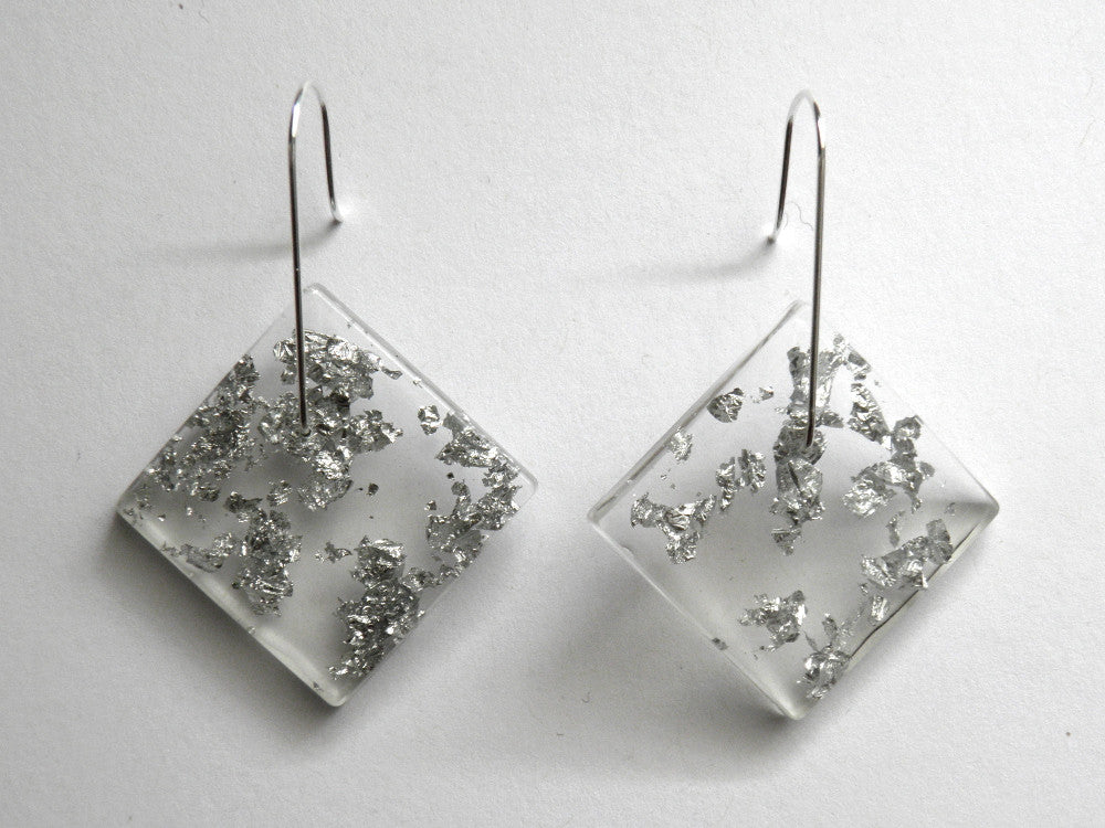 SALE Silver Leaf Resin Square Earrings