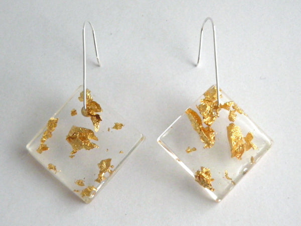SALE Gold Resin Square Earrings