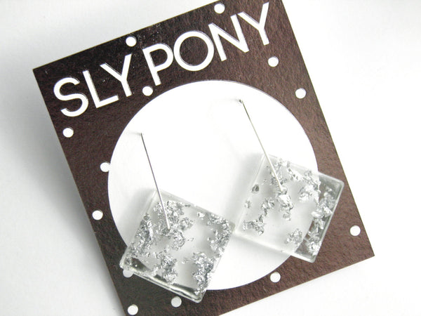 SALE Fancy Clear Square Earrings
