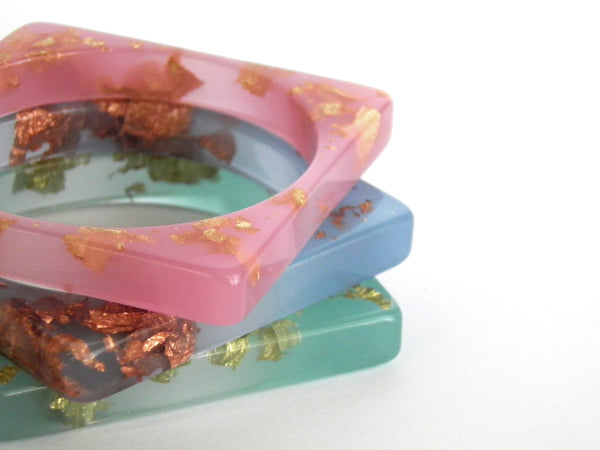 SALE Pastel Blue + Copper Square Resin Bangle