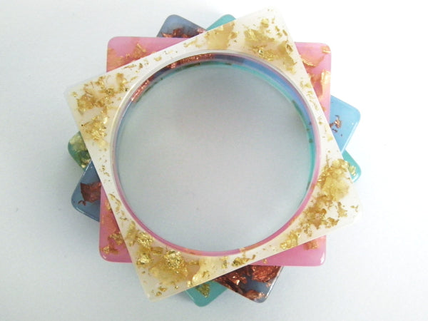 SALE Pastel Pink + Gold Square Bangle