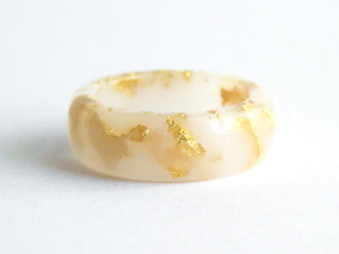 SALE White + Gold Ring / Size 8