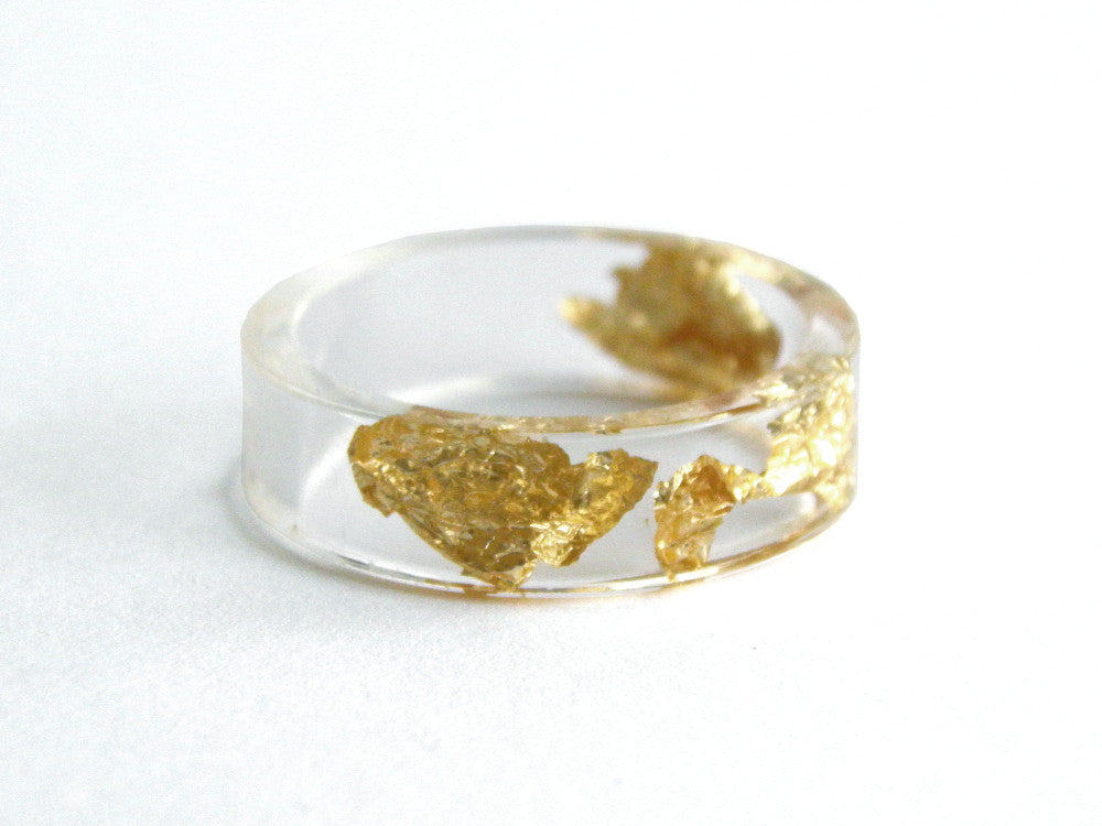 Thin Gold Resin Ring / Size 9