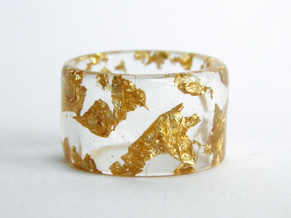 Gold Leaf Cuff Ring / Size 8