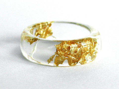 Clear Gold Resin Ring / Size 8