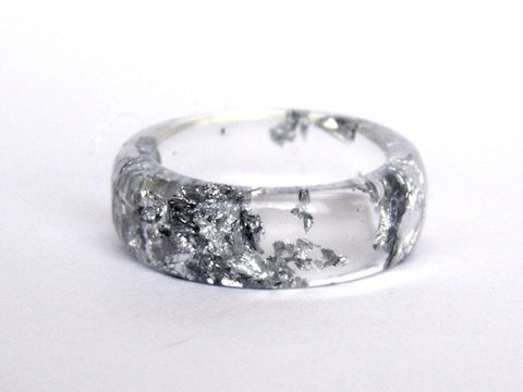 Clear Silver Resin Ring / Size 8