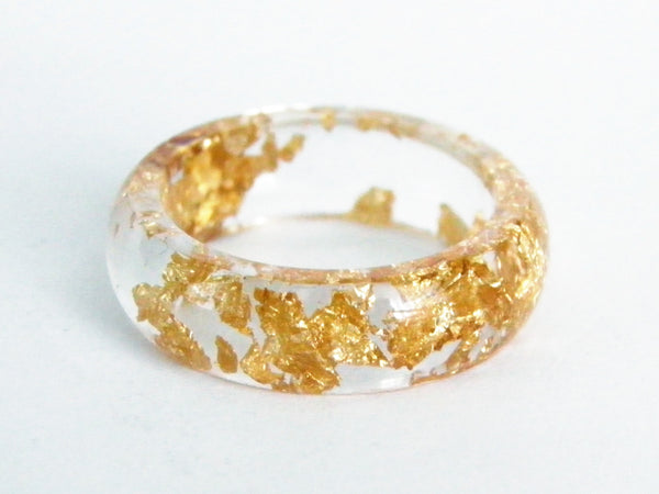 Clear Gold Resin Ring - Round (Sizes 5.5 - 10)