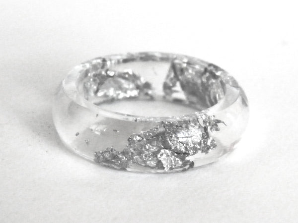 Silver Resin Ring - Round (Sizes 5.5 - 10)