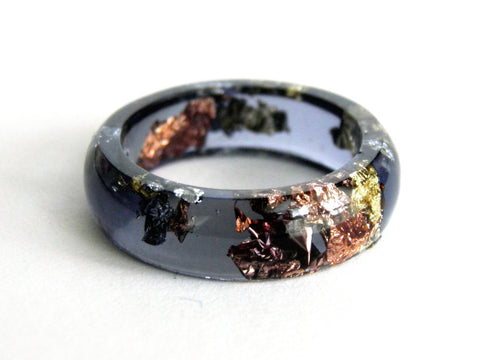 SuperFancy Black Resin Ring - Round (Sizes 5.5 - 10)