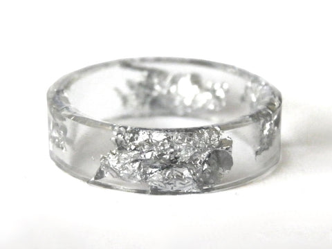 Thin Silver Resin Ring / Size 9