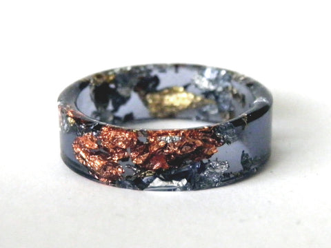 SuperFancy Black Thin Resin Ring / Size 9