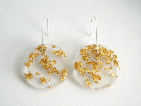 Resin + Gold Leaf Circle Earrings / Large