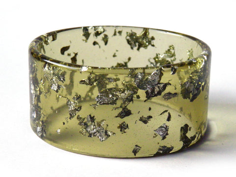 Chartreuse + Silver Resin Cuff Bangle / REGULAR SIZE