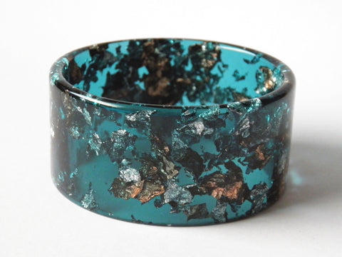 SALE Jade, Silver + Copper Cuff Bangle
