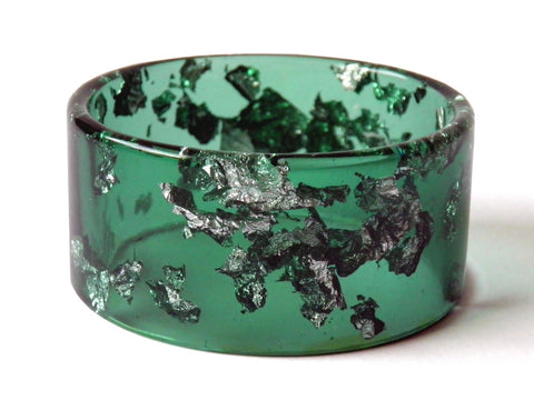 SALE Green + Silver Resin Cuff Bangle / REGULAR SIZE