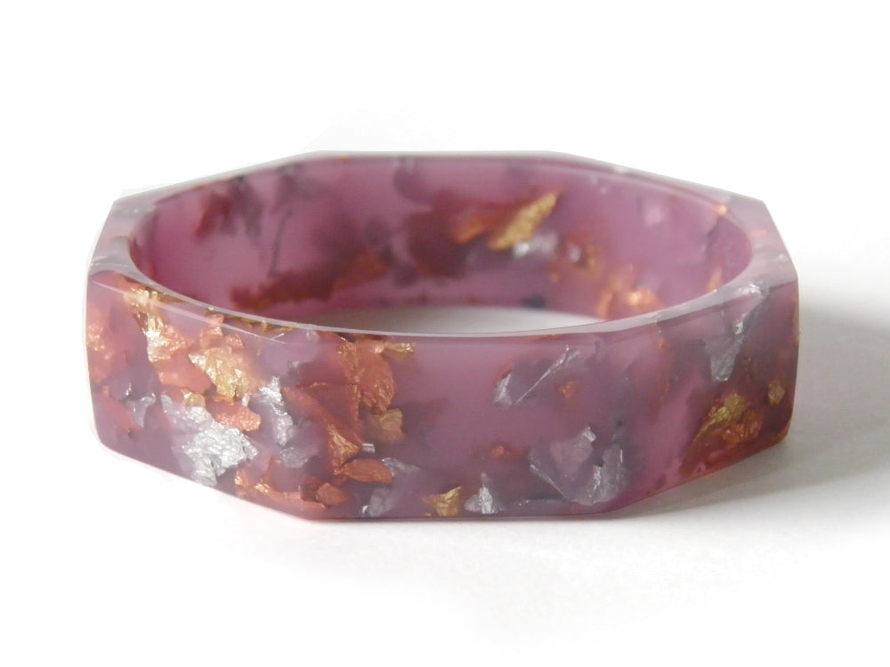 Lilac Resin Octagon Bangle