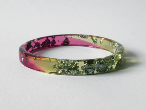 SALE Plum + Chartreuse Resin Stacker Bangle / REGULAR SIZE