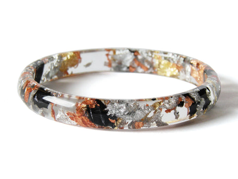 Tortoiseshell Resin Stacker Bangle / LARGE SIZE