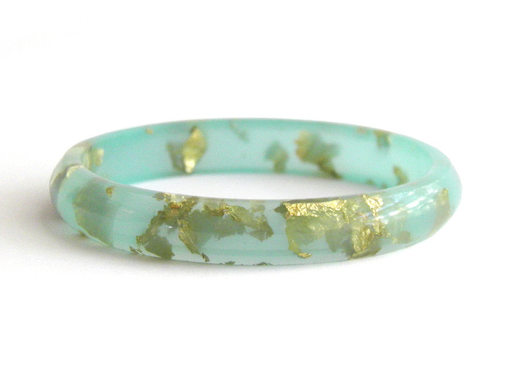 Mint + Gold Resin Stacker Bangle / SMALL SIZE