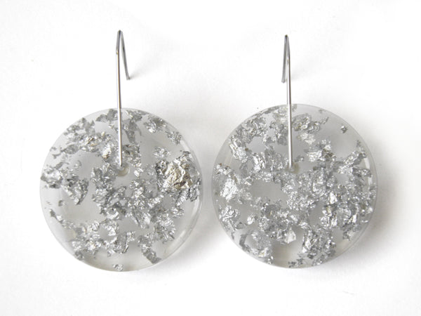 Silver Clear Circle Earrings / Large