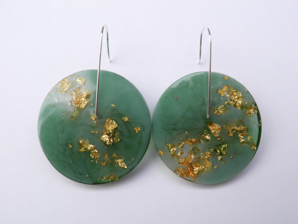 Mint + Gold Circle Earrings / Large