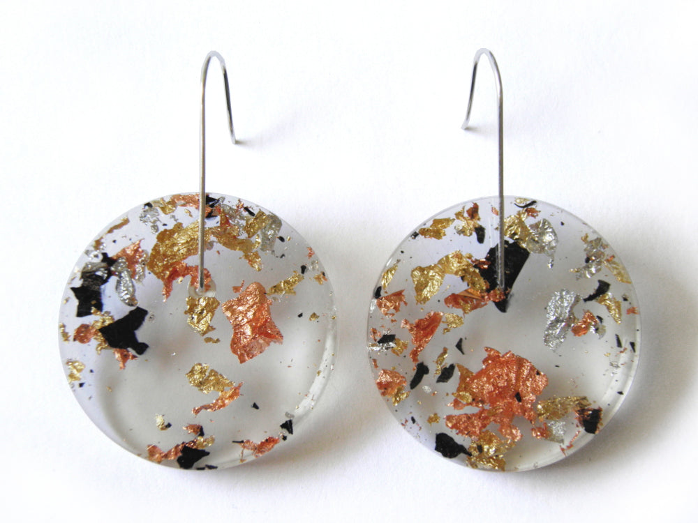 Tortoiseshell Resin Circle Earrings / Large