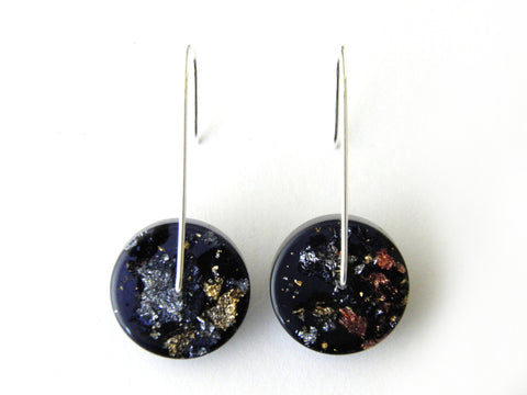 SuperFancy Black Circle Resin Earrings / Mini