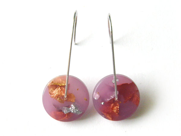 Lilac Circle Resin Earrings / Mini
