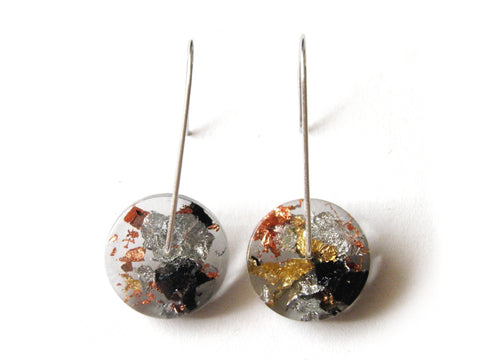 Tortoiseshell Circle Resin Earrings / Mini