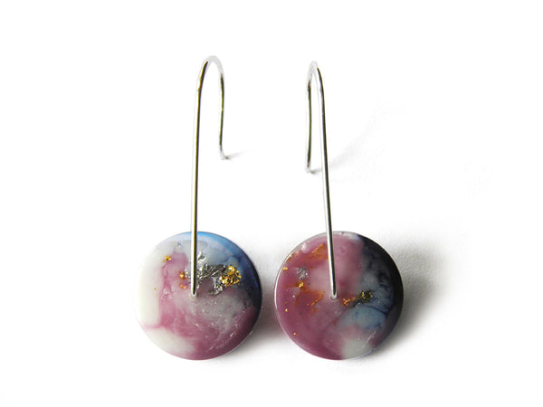 Supernova Circle Resin Earrings / Mini