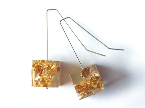 Gold Leaf + Resin Cube Earrings