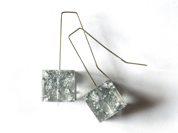 Silver Resin Cube Earrings