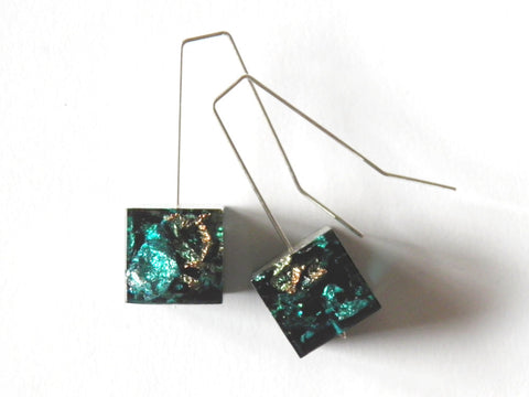 Jade, Copper + Silver Resin Cube Earrings