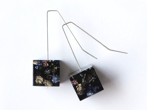 SuperFancy Black Cube Earrings