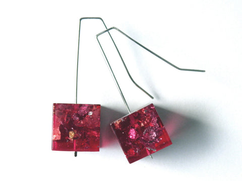 SuperFancy Pink Resin Cube Earrings