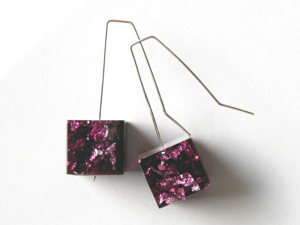 Plum + Silver Resin Cube Earrings