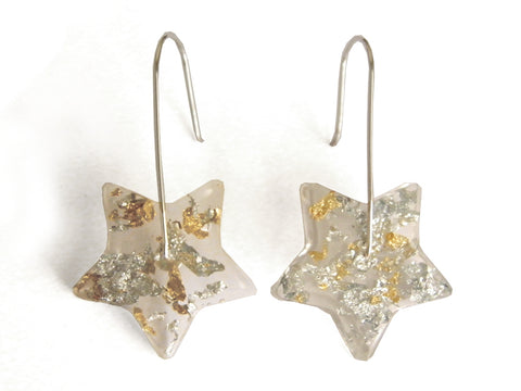 Fancy Clear Star Resin Earrings