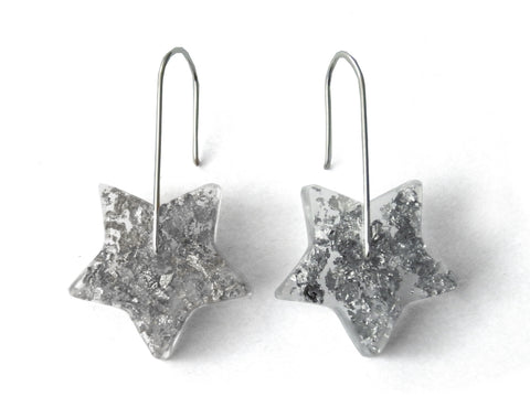 SALE Silver Star Resin Earrings