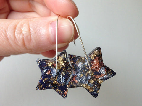 SuperFancy Black Star Resin Earrings