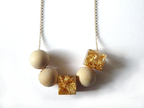 Gold Resin + Wood Necklace