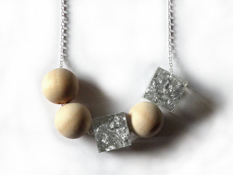 Silver Resin + Wood Necklace