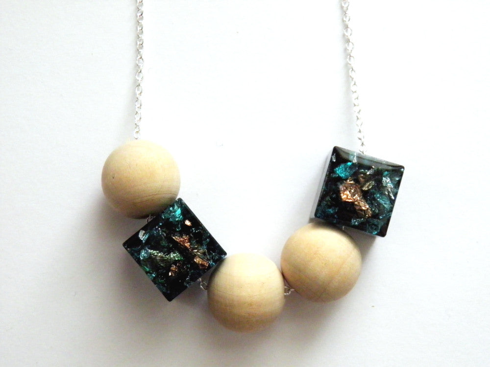 Jade, Copper + Silver Resin + Wood Necklace