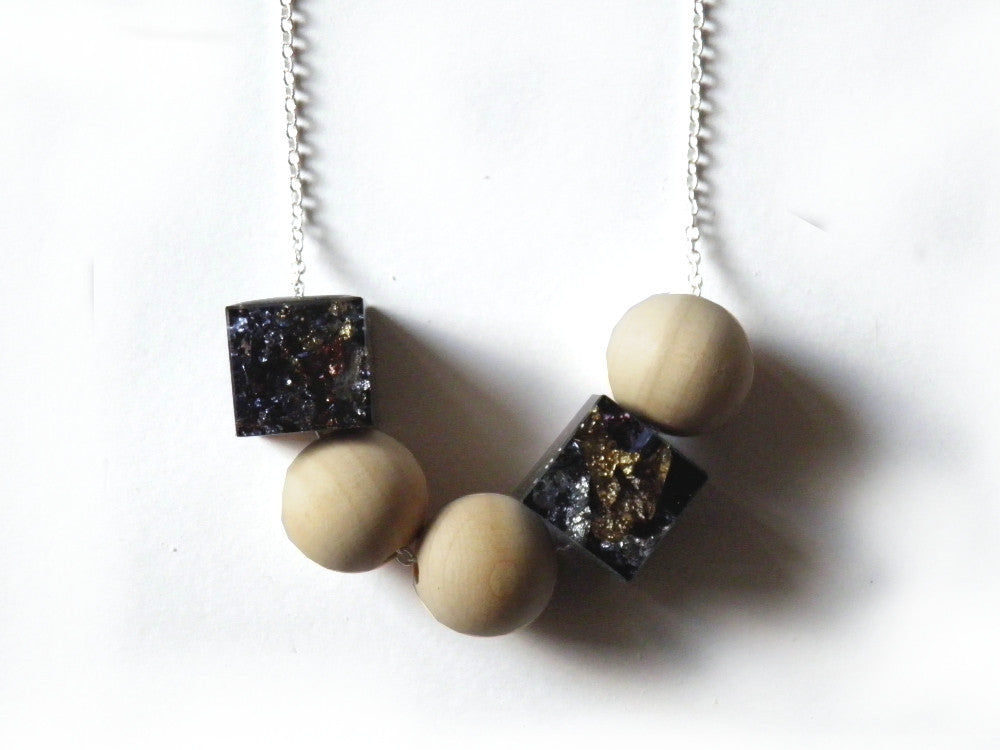 SuperFancy Black Resin + Wood Necklace