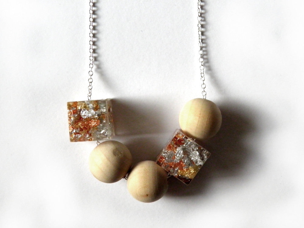 SuperFancy Clear Resin + Wood Necklace