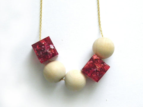 SuperFancy Pink Resin + Wood Necklace